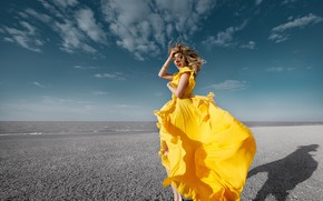 Picture the sky, clouds, hair, Girl, dress, Sergey Gokk