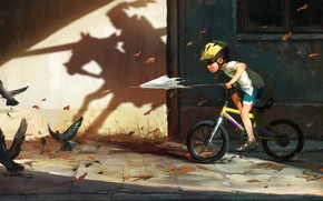 Picture fantasy, Hero, birds, digital art, artwork, sunlight, fantasy art, children, shadow, fall, knight, pearls, imagination, …