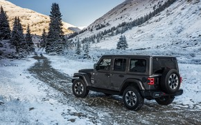 Wallpaper road, snow, mountains, 2018, Jeep, dark gray, Wrangler Sahara