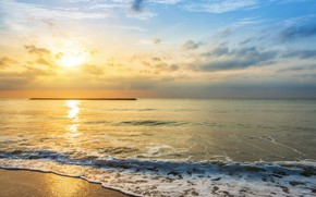 Picture sand, sea, wave, beach, summer, the sky, sunset, shore, summer, beach, sea, sunset, seascape, sand, ...