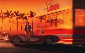 Picture Girl, Auto, Chevrolet, Retro, Machine, Art, Chevrolet Corvette, 1962, Gran Turismo 6, Debora, Transport & ...