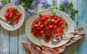 Picture flowers, watermelon, plate, pieces
