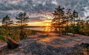 Picture forest, trees, sunset, lake, pine, Finland, Finland, Lake Church Lake