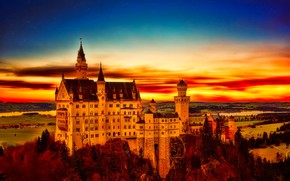 Picture autumn, forest, the sky, color, stars, clouds, trees, landscape, sunset, blue, red, river, castle, height, ...