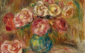 Picture picture, still life, Pierre Auguste Renoir, Pierre Auguste Renoir, Vase with Flowers