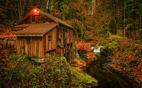 Picture autumn, house, mill, water mill