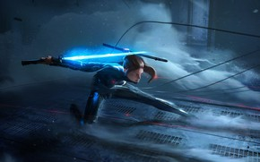 Picture Girl, Fantasy, Ninja, Sword, Cyber, Science Fiction, Antoine Collignon, by Antoine Collignon, The silver Ninja