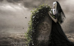 Picture girl, background, fantasy, ivy, photoart