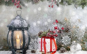 Picture gifts, snow, winter, bumps, toys, ate, New year, branches, Lantern