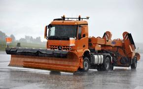Picture orange, rain, Mercedes-Benz, truck, tractor, equipment, machinery, Arocs