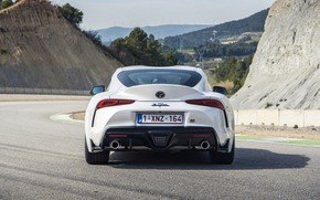 Picture white, hills, coupe, back, Toyota, track, Supra, the fifth generation, mk5, double, 2020, GR Above, …
