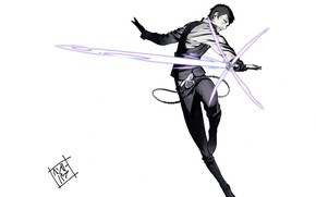 Picture jump, killer, lightsaber, cool, no more heroes, by Yuusuke Kozaki, Henry Cooldown