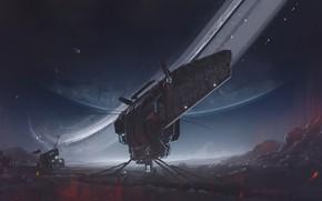 "Picture Figure, Planet, Space, Art, Spacecraft, Dmitrii Ustinov, by Dmitrii Ustinov, Spacecraft ""Bumblebee"", ""Bumblebee"", SpaceArt"