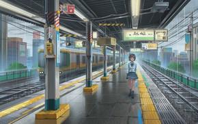 Picture girl, rain, train, station