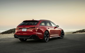 Picture sand, red, Audi, coast, Parking, universal, RS 6, 2020, 2019, V8 Twin-Turbo, RS6 Avant
