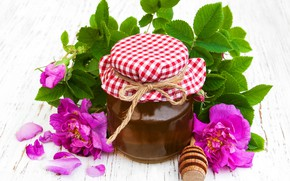 Picture flowers, honey, floral, jar, Olena Rudo