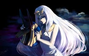 Picture girl, fantasy, Anubis