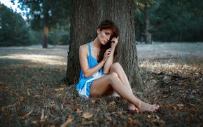 Picture look, trees, nature, sexy, pose, Park, model, portrait, barefoot, makeup, figure, dress, hairstyle, brown hair, …