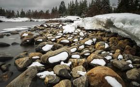 Picture snow, river, stones