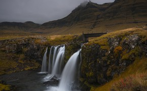 Picture mountains, waterfall, Iceland