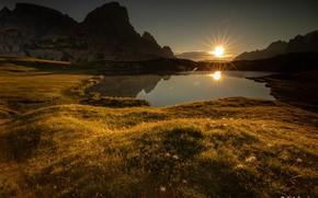 Picture the sun, sunset, lake, rocks, Agnеs Perrodon