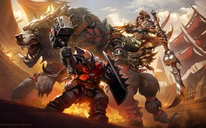 Picture wolf, World of Warcraft, arena, blizzard, warcraft, wow, art, dwarf, orc
