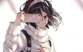 Picture girl, smartphone, selfie