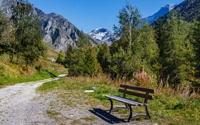 Picture mountains, bench, France, track, Savoie, Albertville