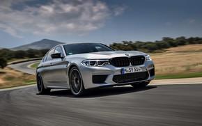 Picture asphalt, grey, speed, BMW, sedan, track, 4x4, 2018, four-door, M5, V8, F90, M5 Competition