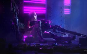 Picture look, girl, weapons, art, cyborg, Cyberpunk