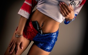 Picture girl, gun, shorts