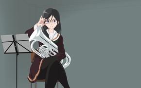Picture girl, music, pipe, grey background, Hibike! Euphonium