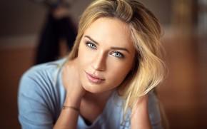 Picture look, pose, model, portrait, makeup, hairstyle, blonde, beauty, bokeh, Lods Franck, Eva Mikulski