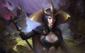 Picture girl, fantasy, game, magic, breast, crown, artwork, fantasy art, chest, cape, LeBlanc, fantasy girl, scepter, …