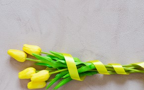 Picture love, bouquet, yellow, tape, tulips, love, yellow, flowers, romantic, tulips