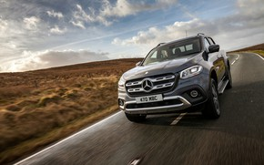 Picture road, Mercedes-Benz, pickup, 2017, X-Class, dark gray, UK-version