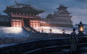 Picture road, gate, Japan, samurai, lights, ladder, architecture, twilight, art, castle, feudal, Edward Baron