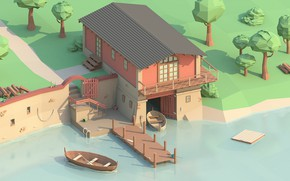 Picture trees, boat, Marina, pierce, boat, low poly
