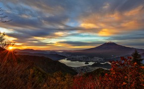 Picture autumn, the sky, the sun, clouds, rays, landscape, mountains, hills, foliage, the slopes, mountain, the ...