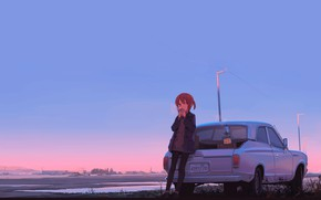 Picture road, auto, girl, anime, horizon, art, to eat, stopped