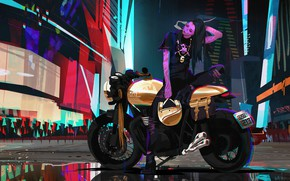 Picture Girl, Style, Girl, Bike, Motorcycle, Fantasy, Art, Art, Style, Fiction, Neon, Fiction, Concept Art, Motorcycle, …