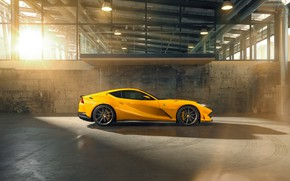 Picture machine, light, traces, yellow, hangar, Ferrari, tires, drives, side view, stylish, sports, Superfast, 812, by …