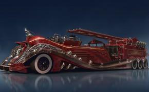 Wallpaper firefighter, reflection, car, Steampunk car concept, equipment