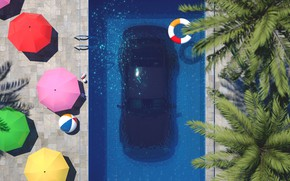Picture Auto, Machine, Pool, Style, Art, Art, 80s, Porsche 911, Style, Under water, Rendering, Illustration, Concept …