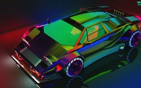 Picture Reflection, Auto, Lamborghini, Neon, Machine, The hood, Car, Art, Neon, Countach, Rendering, Concept Art, Lamborghini …