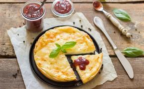 Picture pie, dessert, wood, cakes, jam