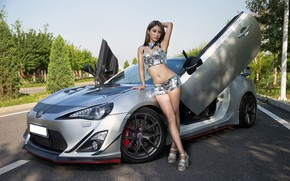 Picture auto, look, Girls, Asian, beautiful girl, Toyota 86, posing on the car