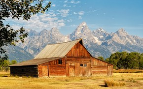 Picture field, mountains, house, house, USA, national Park, Grand Teton