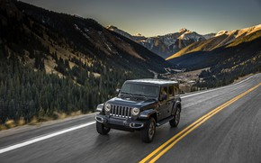Picture asphalt, mountains, markup, 2018, Jeep, dark gray, Wrangler Sahara