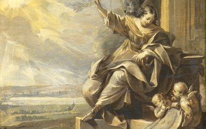 Picture oil, picture, mythology, 1699, неизвестный художник, Аллегорическая Женская Фигура с Двумя Ангелами